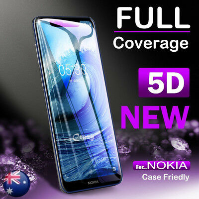 5D Curved Full Coverage Tempered Glass Screen Protector Guard For Nokia 8.1 / X7