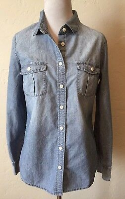 9d34455d0ec J. Crew Factory Chambray Shirt in Perfect Fit Size Small Roll Tab Blouse  Button