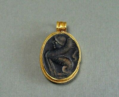 Ancient Gold & Bronze Pendant Engraved Griffin Image Greek 600-300 Bc