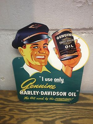 Vintage 40's Style Harley Davidson Oil Can Sign Panhead Knucklehead Chopper Flh