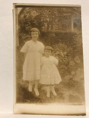Young Girls Standing Outside c1907 Vintage AZO RPPC Rare