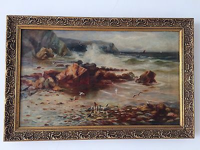 Antique 19th Century British Oil Painting On Canvas SEASIDE