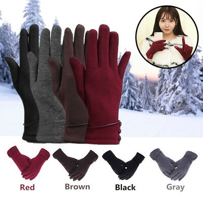 Womens Touch Screen Gloves Thermal Full Finger Fleece Lined Winter Skiing Gloves