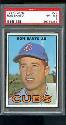 1967 Topps #70 Ron Santo Chicago Cubs NM-MT PSA 8 Graded Baseball Card