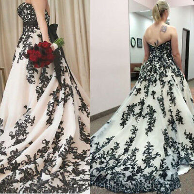 GOTHIC BLACK AND White Wedding Dresses Plus Size Vintage Strapless ...