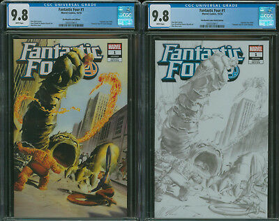 Fantastic Four #1 CGC 9.8 set both Color and Sketch variants by Alex Ross 2018