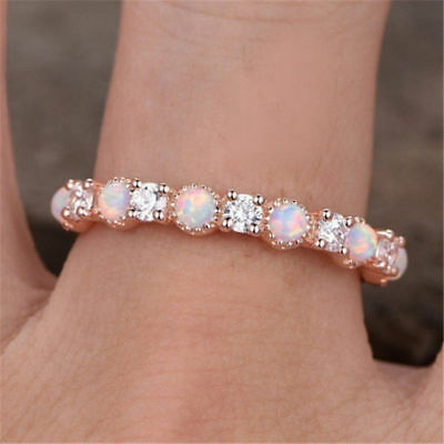 Fashion Women Simple Rose Gold Pink Fire Opal Ring Wedding Party Women Jewelry