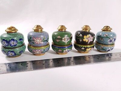 Cloisonne Salt and Pepper Shakers Set of 5 Metal Chinese Enamel Painted Floral