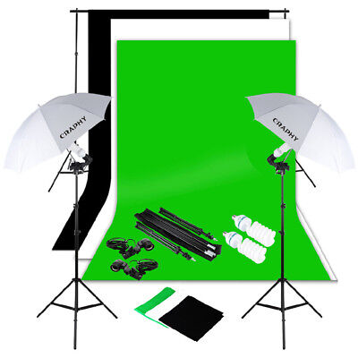 Photography Studio Backdrop Continuous Lighting Kit +Background Support Stand uk