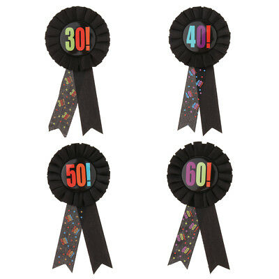 Birthday Badge Rosette with Printed Number - 30th 40th 50th 60th Birthday