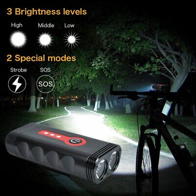 USB Rechargeable T6 LED Bike Bicycle Cycling Front Light Headlamp SOS Waterproof