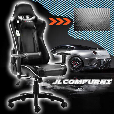 🔰JL Comfurni Office Chair Sport Racing Car Material Gaming Chair Rocker Recline