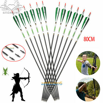 3/6/12/24pcs Carbon Hunting Arrows SP500 W/Real Turkey Feather Fletching Archery