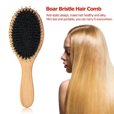 Hair Extension Boar Bristle Brush Cushion Natural Professional Hairdressing Comb