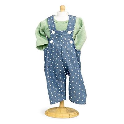 Boy Dolls Clothes - Blue Star Patterned Dungarees With Green Top. Fits 16 inch