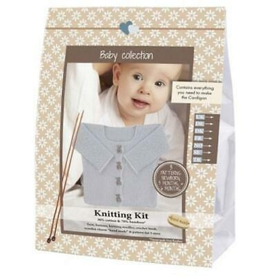 Go Handmade Knitting Crochet Kit Baby Cardigan - Light Grey