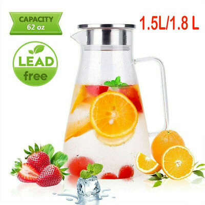 1.8L Glass Pitcher Jug Water Juice Carafe Cocktail Kettle with Lid Cold/Hot UK
