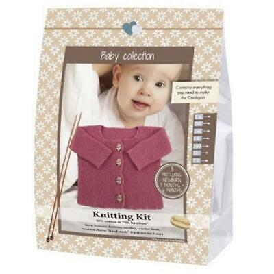 Go Handmade Knitting Crochet Kit Baby Cardigan - Medium Pink