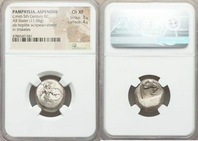 PAMPHYLIA. Aspendus. Ca. mid-5th Century BC. AR stater (19mm, 11.06 gm). NGC