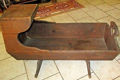 "Vintage Antique 38""L- 23""H - 17""W , Wooden 1900's Baby Cradle / Bed - Very Rare"