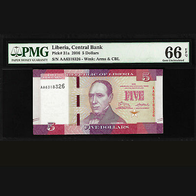 Liberia Central Bank 5 Dollars 2016 PMG HIGH GRADE 66 GEM UNC EPQ P-31a