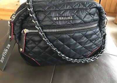 fcf7592c30c4 NWT MZ WALLACE Small Crosby Black Quilted Oxford Nylon Bag *ONLY ONE CHAIN  STRAP