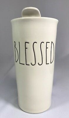"Rae Dunn Magenta  ""BLESSED"" Travel Tall Tumbler Coffee Mug"