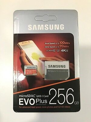 Samsung 256GB Micro SD Cards EVO Plus Class 10 UHS-I MicroSDXC U3 With Adapter