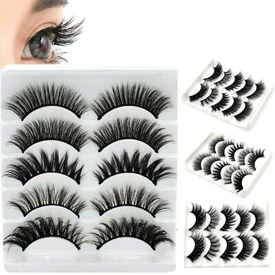 5 Pairs 3D Natural False Eyelashes Long Thick Mixed Fake Eye Lashes Extension