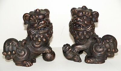 Old Pair ~Bronze over Fine Porcelain ~ w/Copper Details ~  Foo Dogs