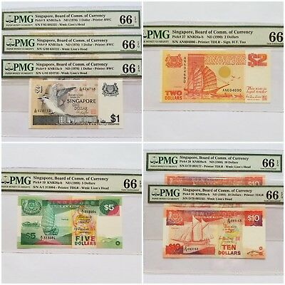 $1-$2-$5-$10 <7 Notes> Singapore Board of Comm.of Currency PMG 66
