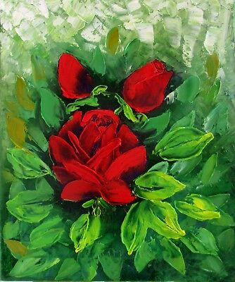 "Red Roses 10X12"" Original Oil Painting by Nadia Bykova Impasto Love Flowers New"