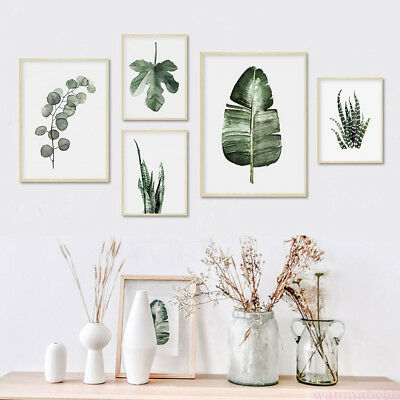 Nordic Green Plants Leaves Canvas Art Poster Wall Picture DIY Home Room Decor