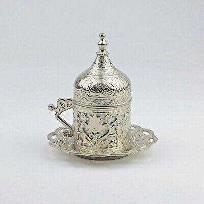 New! Turkish Traditional Ottoman Coffee Cups Saucer & Porcelain insert Free Ship