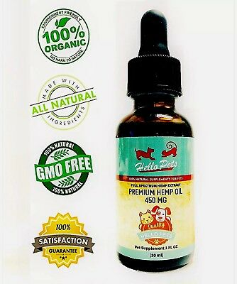 Organic Hemp Oil for Dogs and Cats Pets Stress Anxiety Pain Relief 450mg Natural