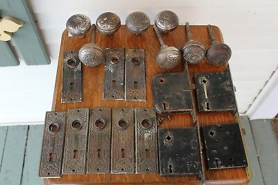 Antique Victorian Set 4 Eastlake Brass Nickel Door Knobs/Backplate/Mortise Lock