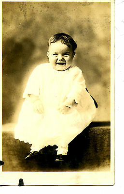 Cute Happy Baby Smiles for Picture-Sweet Child-RPPC-Real Photo Vintage Postcard