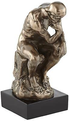 "Bronze Thinker On A Rock 12"" High Decorative Statue"