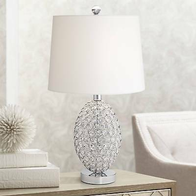 Modern Accent Table Lamp Faceted Clear Crystal Spheres for Living Room Bedroom