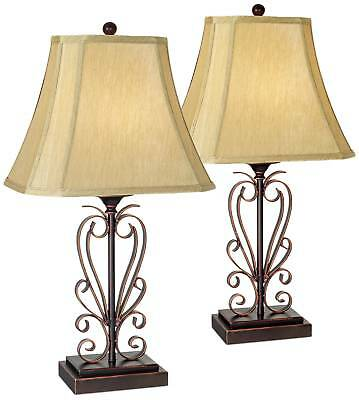 TRADITIONAL TABLE LAMPS Set of 2 Iron Bronze Scroll for ...
