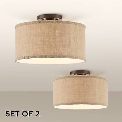 "Ceiling Light Semi Flush Mount Set of 2 Drum Shade Bronze 14"" Bedroom Kitchen"