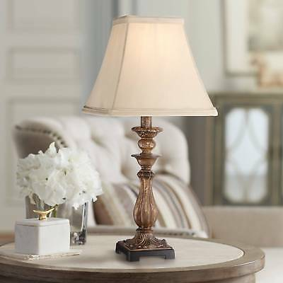 Cottage Small Table Lamp Distressed Light Bronze for Living Room Bedroom