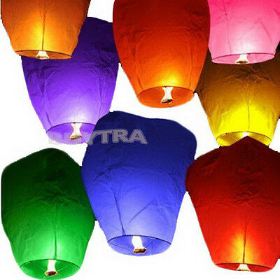9 Colors Chinese Paper Sky Flying Wishing Lantern Lamp Candle Party Wedding TR