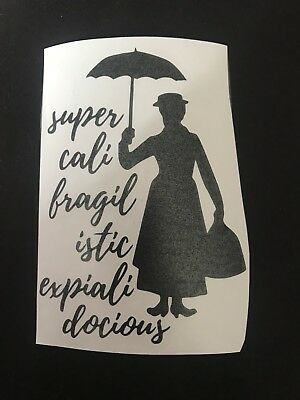 Mary Poppins Glass Craft Etched Vinyl Sticker Silhouette Disney Decal Car