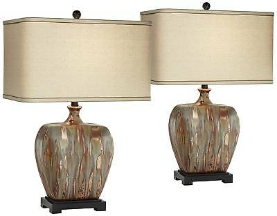 MODERN TABLE LAMPS Set of 2 Ceramic Copper Drip for Living ...
