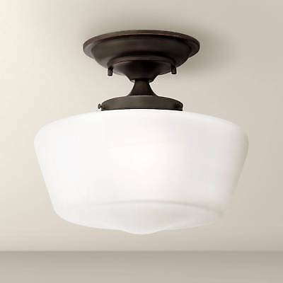 "Schoolhouse Ceiling Light Semi Flush Mount Fixture Bronze 12"" Bedroom Kitchen"