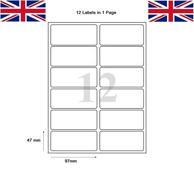 Address Labels White A4 Sheets Sticky Self Adhesive Inkjet Laser Printer 12 in 1