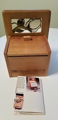 Vtg. Recipe Box Oak Oakwood Accents Stained Glass w/Indexes Original Brochure