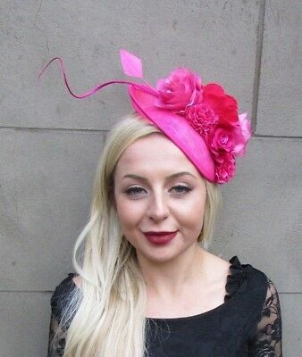 Cerise Hot Pink Feather Flower Floral Disc Saucer Hat Fascinator Hair Races 6602