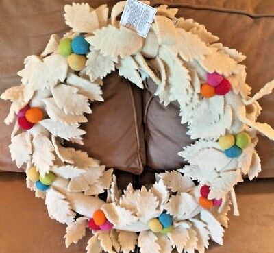 "pottery barn kids Mistletoe Felted Christmas wreath 20"" Merry Bright"